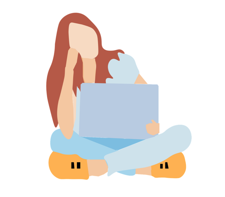 woman with computer: freelance jobs